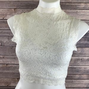 Bebe White Lace Sleeveless Stretch Crop Top